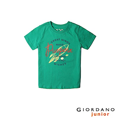 GIORDANO 童裝探索玩樂印花短袖T恤-71 海峽綠