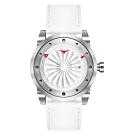 ZINVO 時尚皮革渦輪機械腕錶-白(BMGIC)/44mm