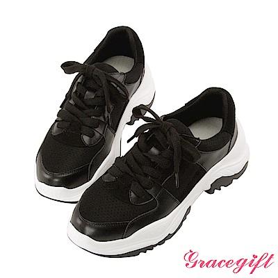 Grace gift-牛皮拼接厚底休閒鞋 黑