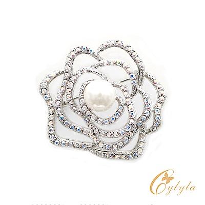 Cylyla思琳娜 施華洛世奇元素簍空山茶花水晶胸針別針B11182