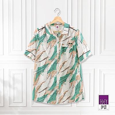 ILEY伊蕾 抽象線條純棉印花上衣(綠)