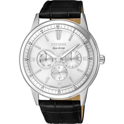 CITIZEN 星辰 光動能日曆手錶-銀x黑/ 44mm(BU2071-01A)