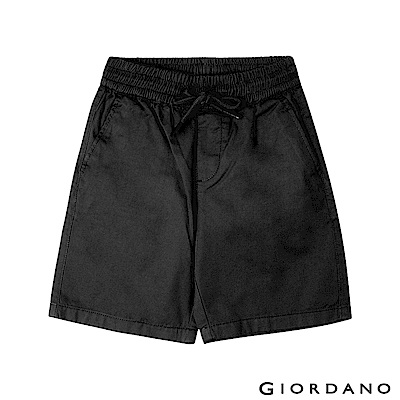 GIORDANO  童裝素色鬆緊腰卡其短褲-09 標誌黑