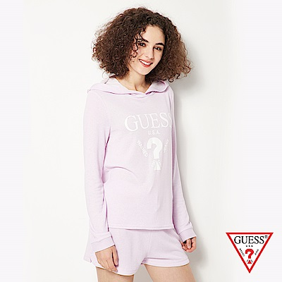 GUESS-女裝-經典倒三角logo休閒帽T短褲套裝-紫