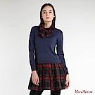 KeyWear奇威名品    甜美創意假兩件剪接針織長袖洋裝-深藍色