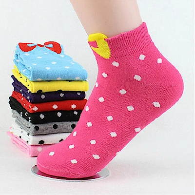 美娜甜心 韓版可愛糖果色夢幻蝴蝶結高質感短襪/少女襪/襪子(2雙)