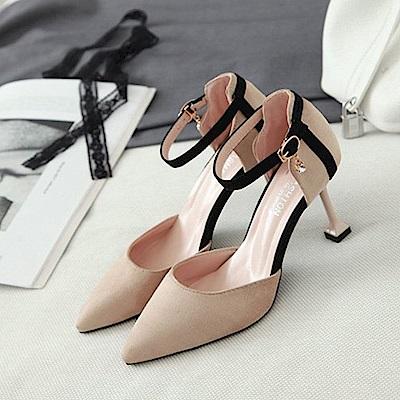KEITH-WILL時尚鞋館 特惠款時尚歐美一字扣細跟鞋-米色