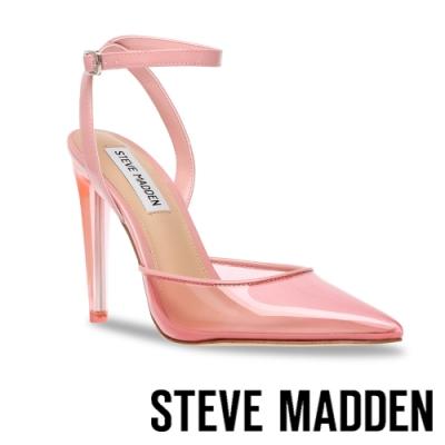 STEVE MADDEN-ALESSI 半透明鞋面繞踝高跟涼鞋-粉色