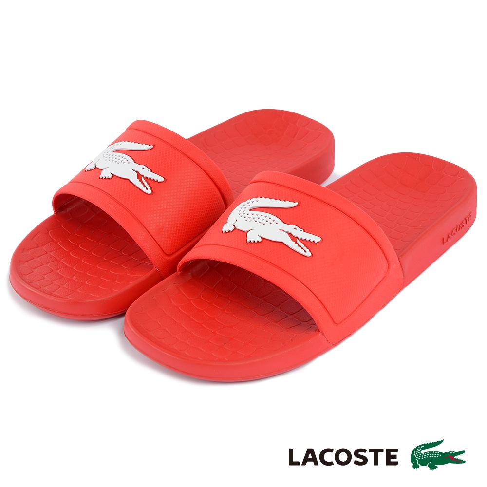 LACOSTE 女用休閒拖鞋-紅色
