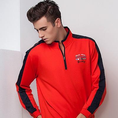 歐洲貴族oillio 長袖T恤 立領款式 文字刺繡 紅色