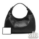 2R 頂級訂製NAPPA羊皮手工肩背梭織弦月包 黑