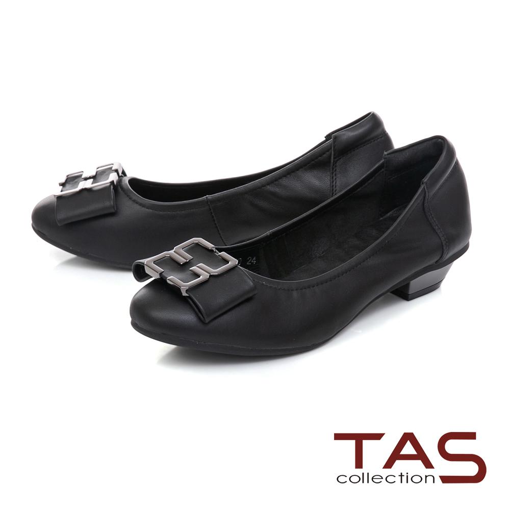 TAS 蝴蝶結飾扣素面羊皮娃娃鞋-經典黑