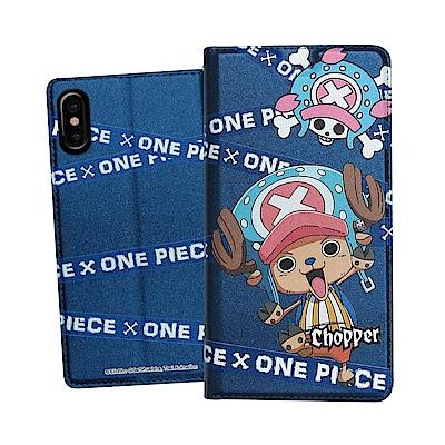 日本東映授權正版 航海王 iPhone Xs / X 5.8吋 彩繪磁力皮套(封鎖喬巴)