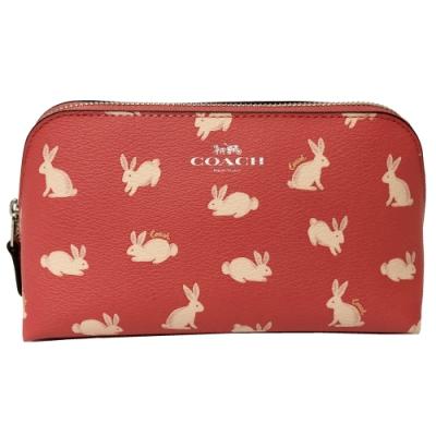 COACH 兔子印花手拿包/化妝包(粉)
