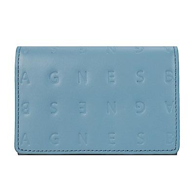 agnes b.LOGO壓紋名片夾-灰藍
