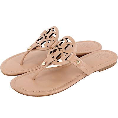 TORY BURCH Miller 品牌LOGO夾腳拖鞋(粉餅色)