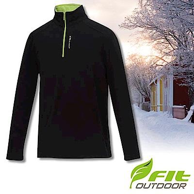 FIT 男款 雙刷雙搖保暖長袖上衣_GW1101 經典黑 W