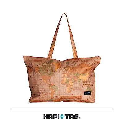 日本HAPI+TAS 摺疊肩背包 米色世界地圖