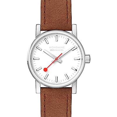 MONDAINE 瑞士國鐵evo2時光走廊腕錶-銀棕/30mm
