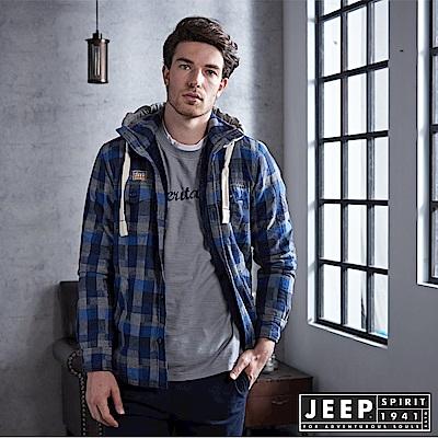 JEEP 經典格紋刷毛外套-藍