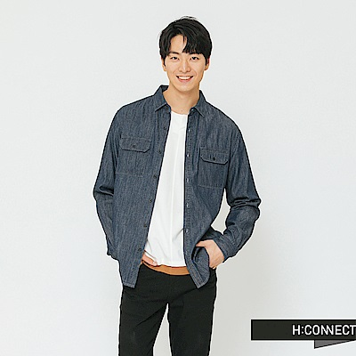 H:CONNECT 韓國品牌 男裝-水洗刷色牛仔襯衫-藍