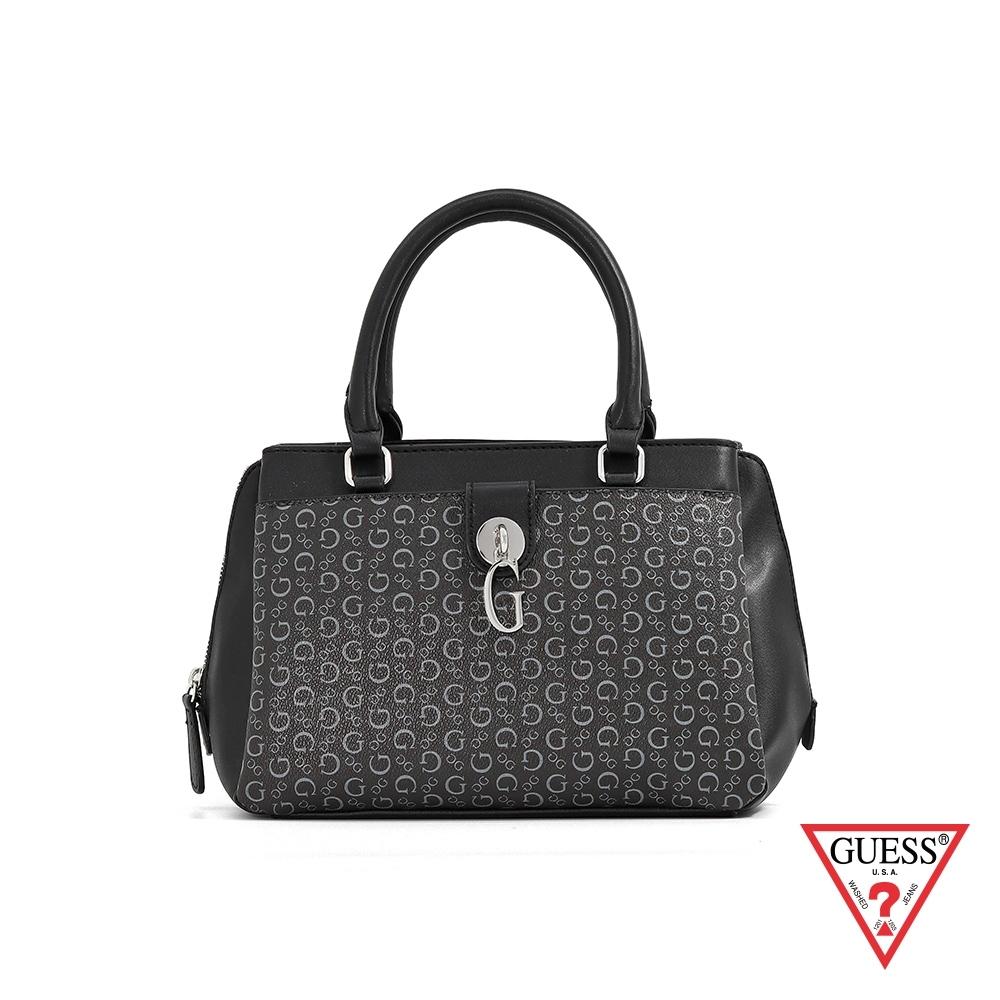 GUESS-女包-復古滿版LOGO印花肩背手提包-黑 原價3490