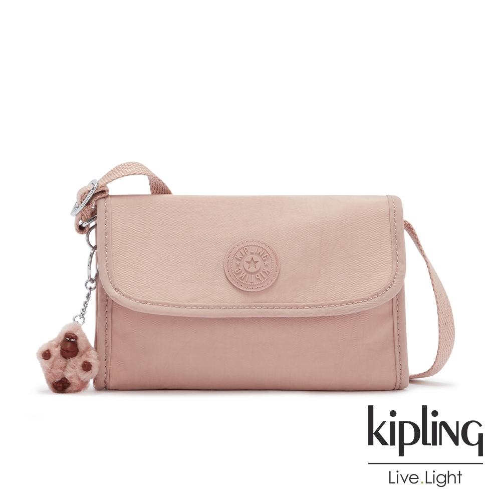 Kipling 氣質玫瑰粉掀蓋拉鍊肩背包-BERRY