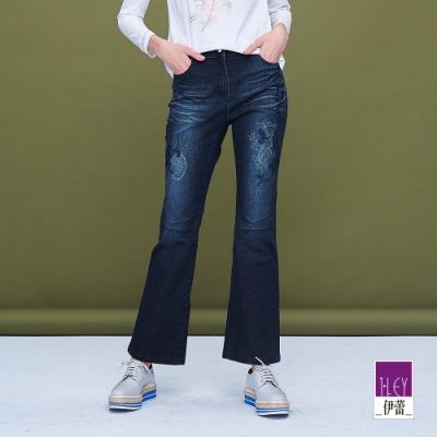 ILEY伊蕾 刷色刺繡喇叭牛仔褲(藍)