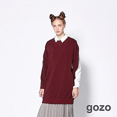 gozo 異材質拼接棉質長版上衣(三色)