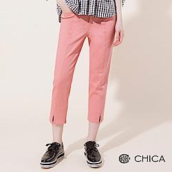 CHICA 俏皮活力中縫線開衩純色直筒褲(3色)