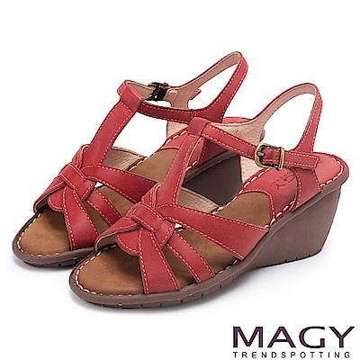 MAGY 簡約時尚風情 嚴選牛皮編織造型坡跟涼鞋-紅色