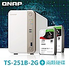 QNAP 威聯通 TS-251B-2G網路儲存伺服器+IronWolf 2TB x2