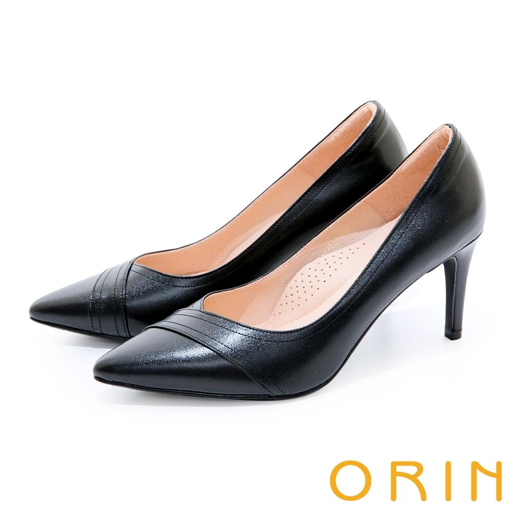 ORIN 造型剪裁真皮尖頭 女 高跟鞋 黑色