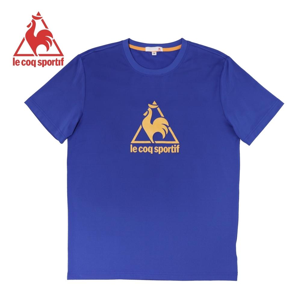le coq sportif 法國公雞牌螢光印花吸排運動短袖T恤 男-寶藍