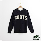Roots 男裝-前胸字標毛衣-藍色