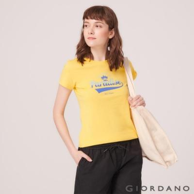 GIORDANO 女裝SUN AND SEA系列印花短袖T恤-02 黃色