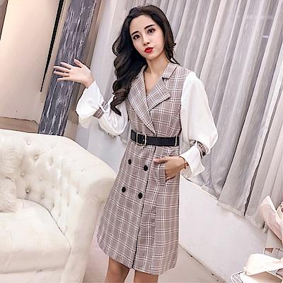 DABI 韓國風復古西裝領格子拼接長袖洋裝