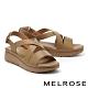 涼鞋 MELROSE 簡約低調交叉寬帶楔型涼鞋-綠 product thumbnail 1