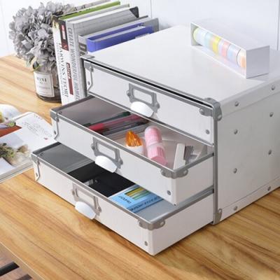莫菲思 洋亦桌上多功能收納橫式三抽公文盒(多色)收納盒/收納箱