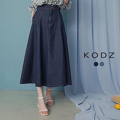東京著衣-KODZ 知性優雅高含棉後鬆緊中長牛仔裙-S.M.L(共二色)