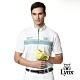 【Lynx Golf】男款吸汗速乾Lynx電繡半身三角印花短袖立領POLO衫-白色 product thumbnail 2