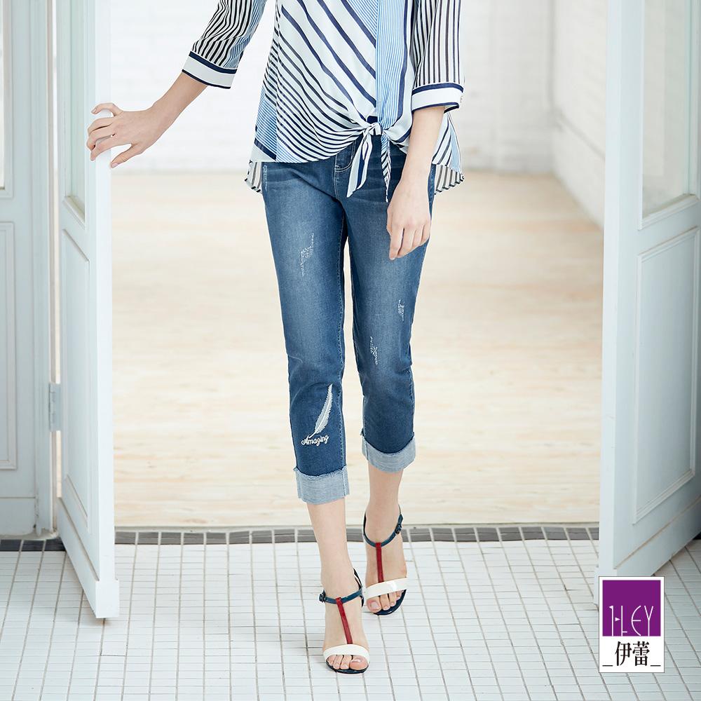 ILEY伊蕾 羽毛刺繡反摺八分牛仔褲(藍) @ Y!購物