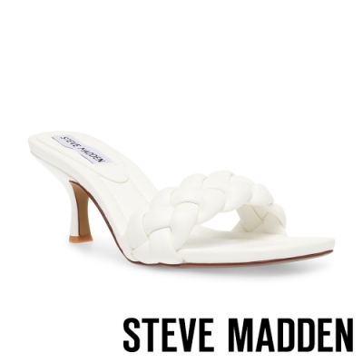 STEVE MADDEN-ASSIST 編織方頭細跟涼拖鞋-白色