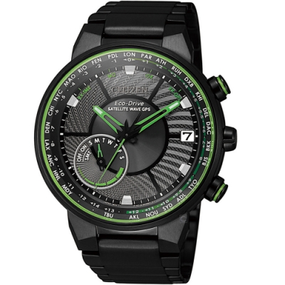 CITIZEN星辰GPS衛星對時光動能手錶(CC3075-80E)-綠