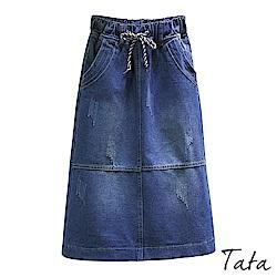 破壞鬆緊腰繫帶牛仔裙 TATA