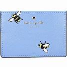Kate Spade Picnic 蜜蜂印花防刮皮卡片夾(藍色)