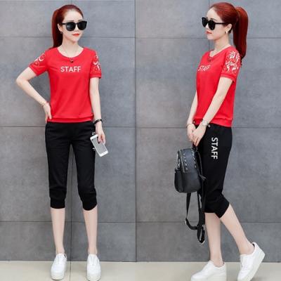 【韓國K.W.】(預購)韓時尚休閒字母運動套裝褲-3色
