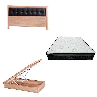 綠活居 亞多3.5尺單人床台三式組合(床頭片+後掀床底+正三線乳膠獨立筒)五色可選