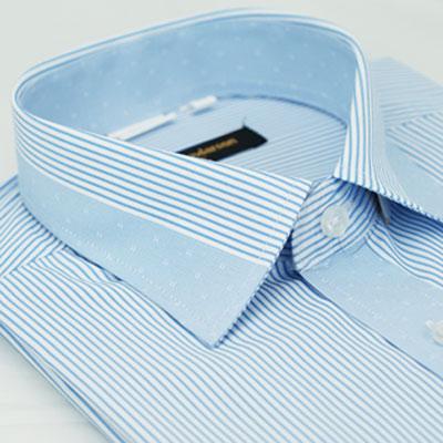 金‧安德森 藍色變化領窄版長袖襯衫fast