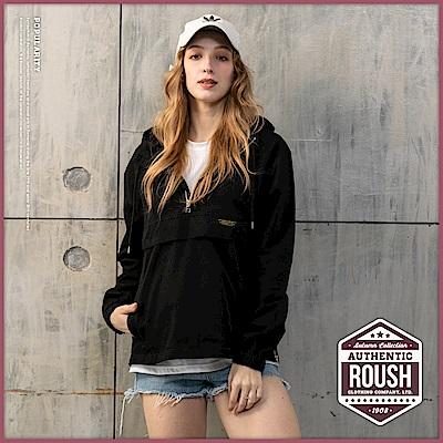 Roush 女生over size高領拉鍊設計斜紋布帽T(2色)
